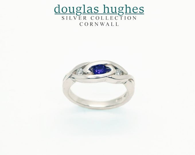 Amethyst & Diamond Silver Celtic Weave Ring - Handmade Douglas Hughes Design