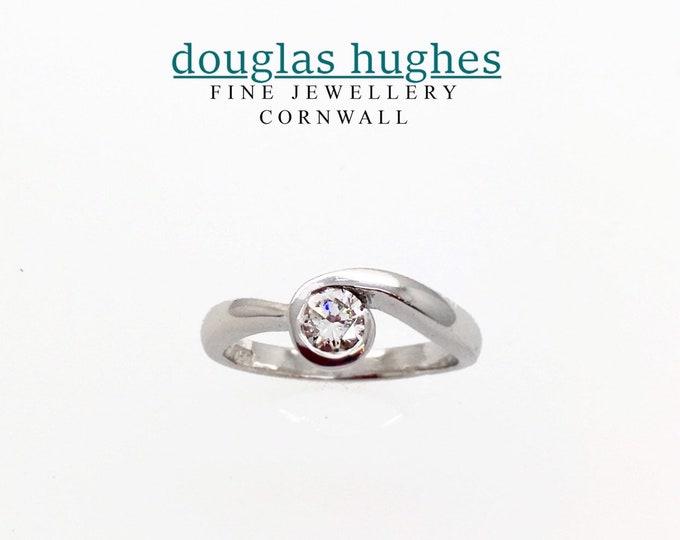 Cornish Diamond Wave Ring Set In 18ct White Gold