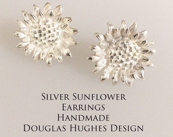 Silver Sunflower Earrings Douglas Hughes Design