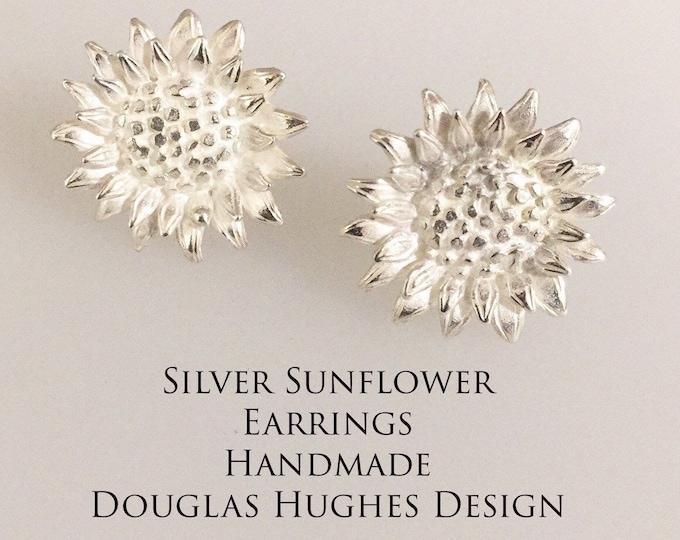 Silver Sunflower Earrings Douglas Hughes Design