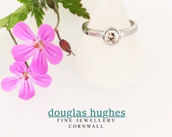 Diamond 18ct White Gold Halo Design Ring - Handmade Douglas Hughes