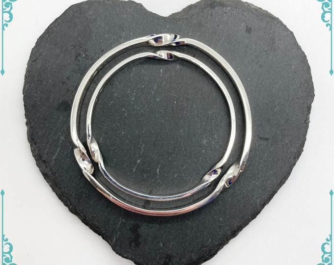 Cornish Triple Twist Solid Silver Bangles - Handmade Douglas Hughes Design