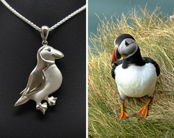 Silver Puffin Pendant with Sapphire Eye (includes free chain) -  Handmade Douglas Hughes Design