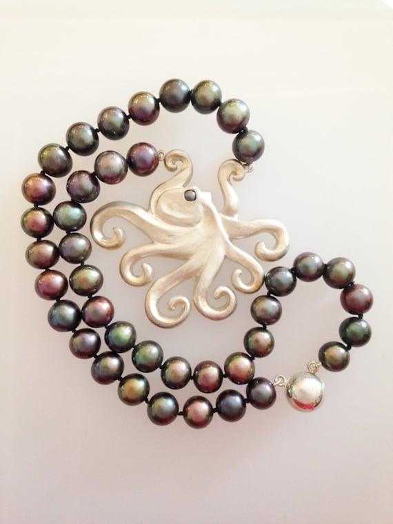 Octopus Pendant with  Black Freshwater Pearls - Handmade Douglas Hughes Design