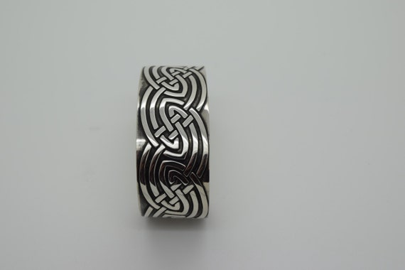 Celtic Patterned Cuff Bangle - Douglas Hughes Fine Jewellery