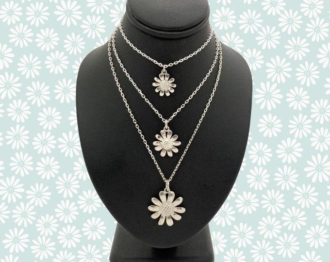 Solid Silver Handmade Cornish Daisy Pendants (Small/Medium/Large) - Douglas Hughes Design