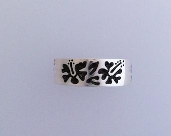 Solid Silver Hibiscus Flower Ring  Handmade Douglas Hughes Design