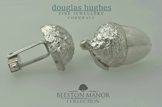 Acorn Cufflinks – Solid Silver - Handmade by Douglas Hughes.
