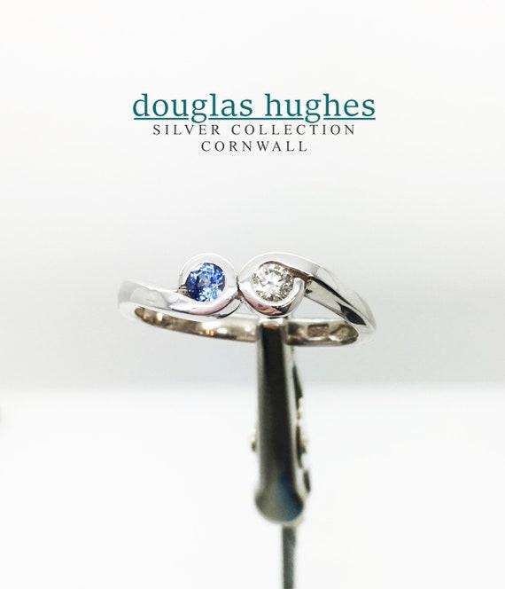 Sapphire & Diamond Silver Ring - Handmade Douglas Hughes Design
