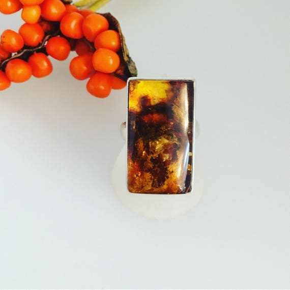 Amber & Silver Ring - Beautiful Colours!