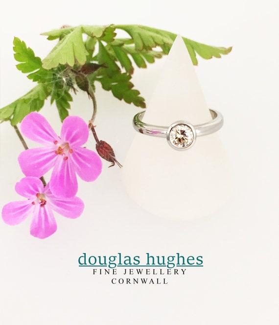Diamond 18ct White Gold Halo Design Ring - Handmade Douglas Hughes