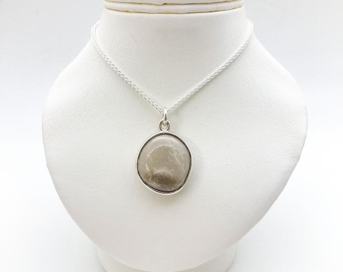 Highly Polished Cornish Beach Pebble Pendant (Ash Grey, Large), Set In Silver - Handmade Douglas Hughes Design