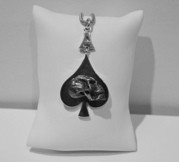 Ace of Spades Skull Pendant - Solid Silver - Handmade by Douglas Hughes