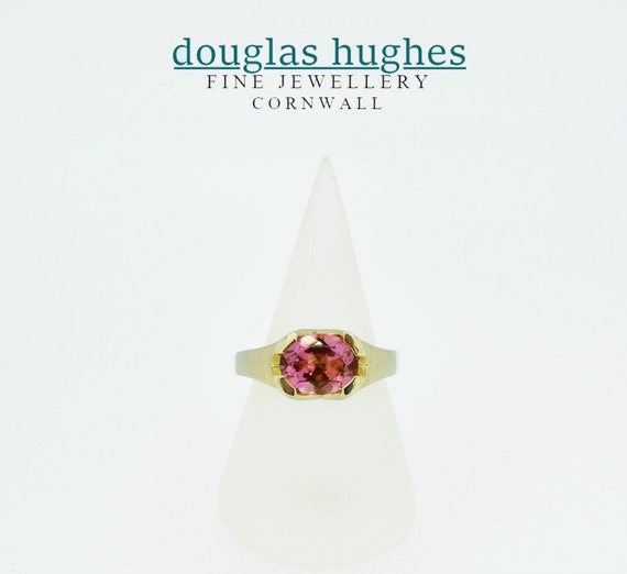 Pink Tourmaline 18ct. Yellow Gold Ring - Handmade Douglas Hughes Design
