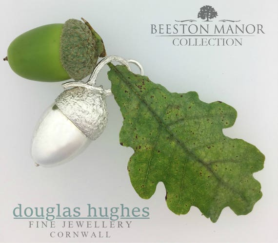 Large Acorn Pendant – Solid Silver - Handmade by Douglas Hughes