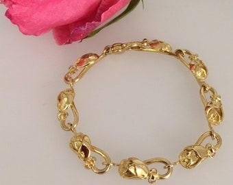 18t Yellow Gold Exquisite Rose Bracelet - Douglas Hughes Design