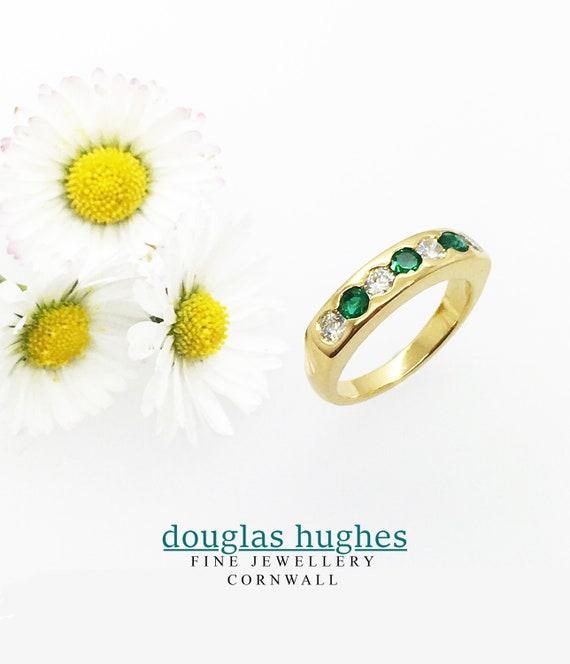 Emerald & Diamond Set Band - 18ct Yellow Gold - Douglas Hughes Design
