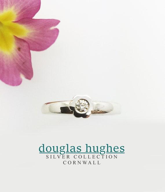 Diamond Flower Ring - Handmade Silver Douglas Hughes Design