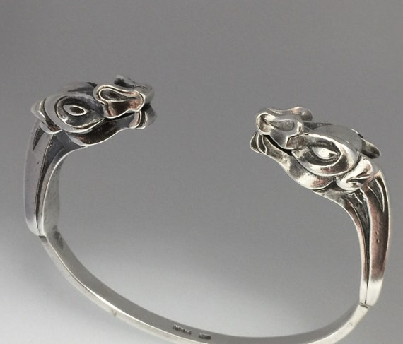 Viking Dragon Head Torque Bangle - Solid Silver Handmade Douglas Hughes Design