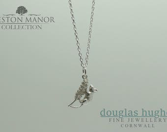 Solid Silver Harvest Mouse Pendant (with free chain) - Handmade by Douglas Hughes