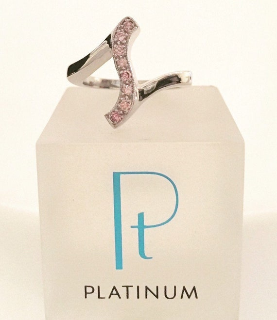 Natural Pink Diamonds & Platinum Ring - Handmade Douglas Hughes Design