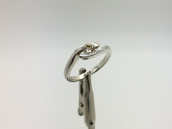 Diamond Silver Wave Ring - Handmade Douglas Hughes Design