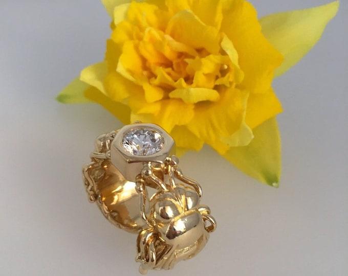 Diamond Set Bee Ring, 18ct. Yellow Gold - Exceptional Handmade Douglas Hughes Design