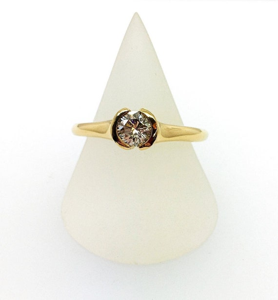 Diamond Ring - 18ct Yellow Gold Douglas Hughes Ring - Tension Set Round Brilliant