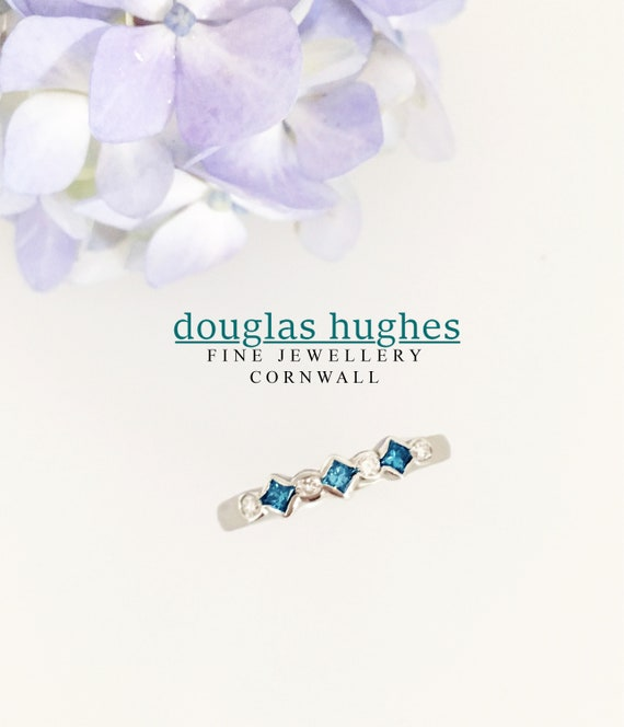 Blue & White Diamond Platinum Ring - Douglas Hughes Design Handmade in Cornwall