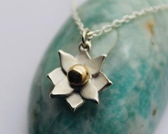 Handmade Solid Silver Lotus Pendant with 9ct Gold Bead - Douglas Hughes Design: Lotus Flower Necklace, Lotus Flower Pendant, Lotus Flower
