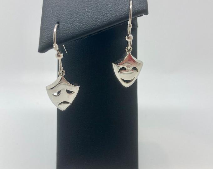 Solid Silver Theatre Mask Earring - Handmade Douglas Hughes Design