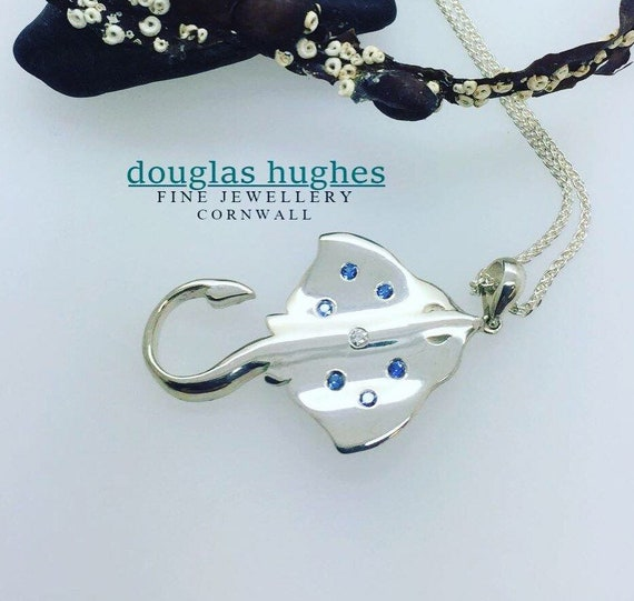 Stingray Pendant Set with Sapphires & Diamonds - Original Douglas Hughes Design - Handmade in Cornwall