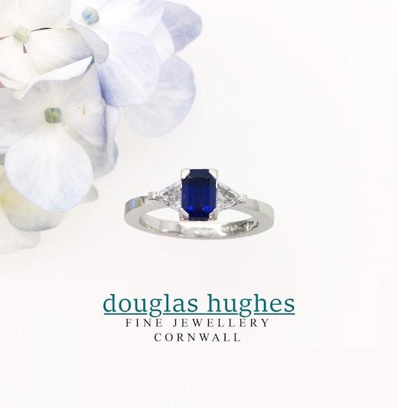 Ceylon Sapphire & Diamond Platinum Ring - Douglas Hughes Handmade in Cornwall
