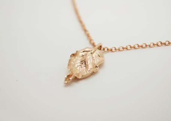 Rose Gold Beech Leaf Pendant and Chain - Solid Rose Gold - Handmade in Cornwall - Douglas Hughes Fine Jewellery
