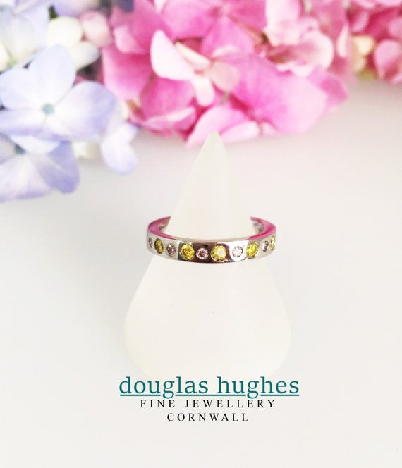 Platinum Band set with Natural Pink & Yellow Diamonds - Douglas Hughes Design Handmade in Cornwall