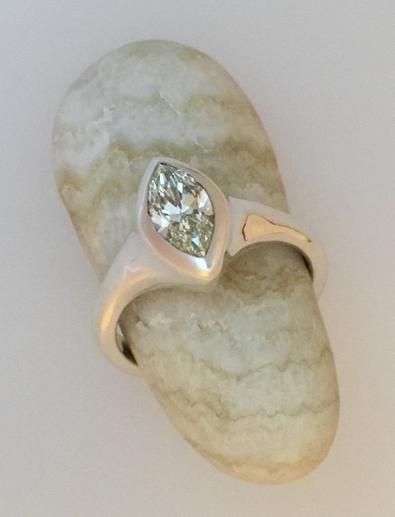 Marquise Diamond & Silver Ring - Handmade Douglas Hughes Design