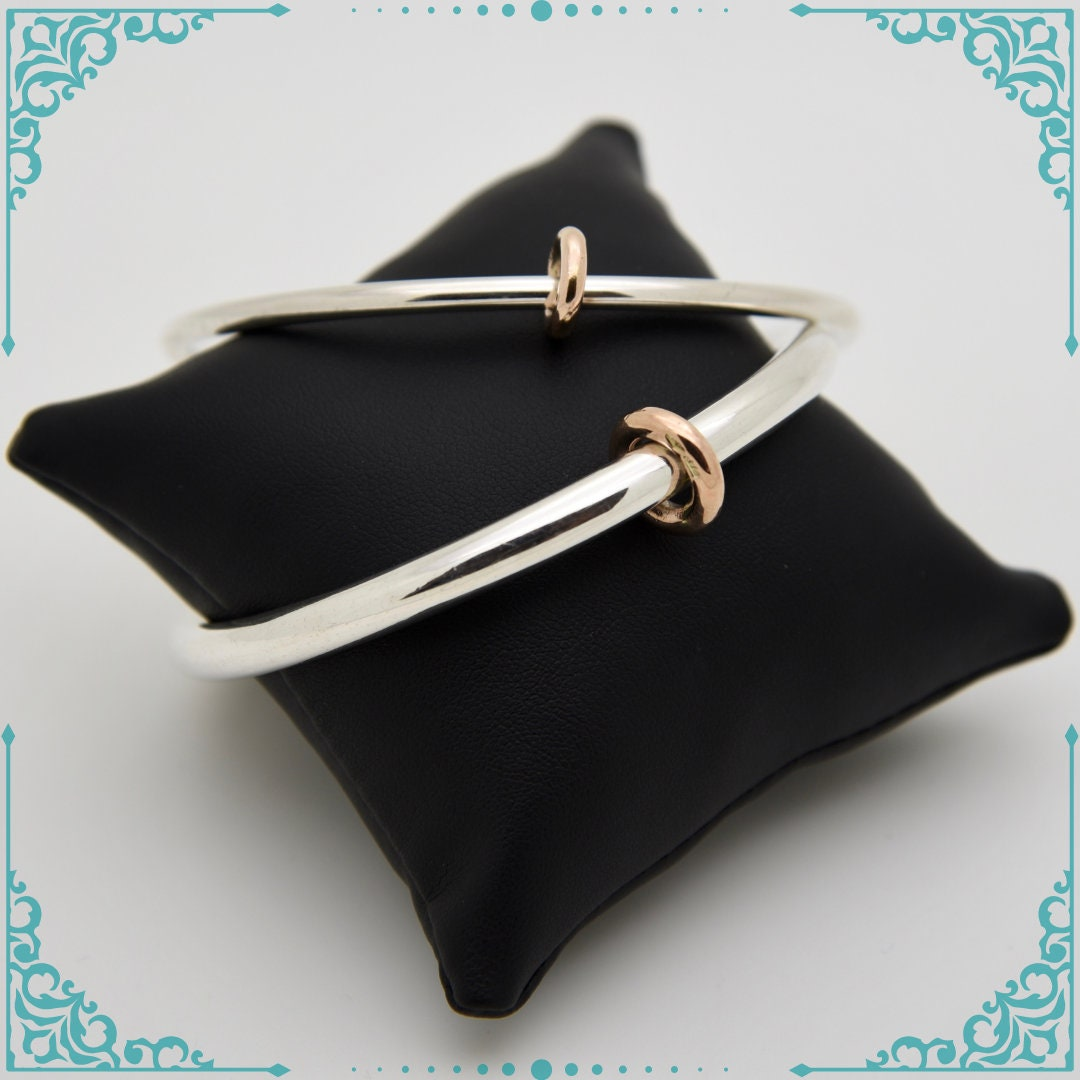 Silver Bangle with 9ct Rose Gold Ring Handmade Douglas Hughes Design