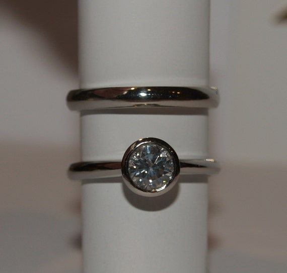 Diamond Ring with Matching Band - Handmade Douglas Hughes Design