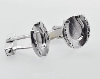 Solid Silver Horseshoe Cufflinks, Handmade in Cornwall