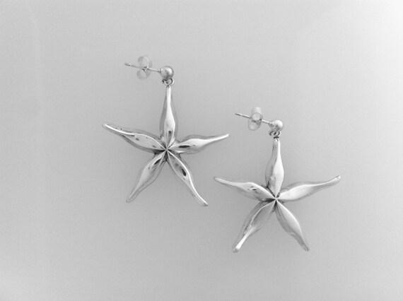 Cornish Star Fish Earrings Handmade by Douglas Hughes