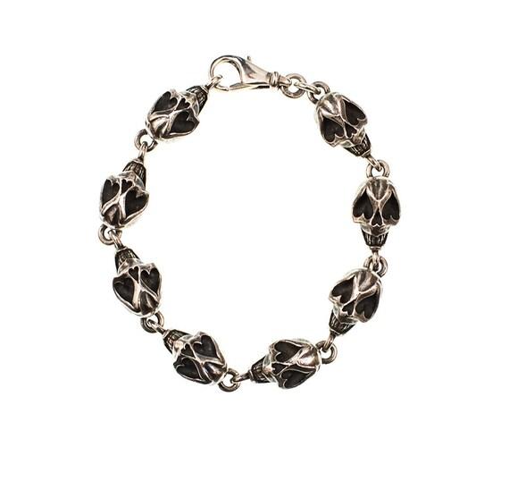 Sugar Skull Bracelet. 102 grams of Silver Sugar Skull Sexiness! - Handmade Douglas Hughes Design