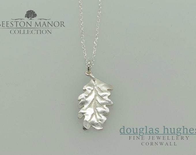 Oak Leaf Pendant/Charm – Solid Silver -  Handmade by Douglas Hughes