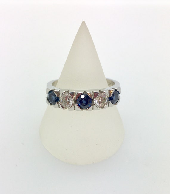 Platinum Sapphire & Diamond Five Stone Ring