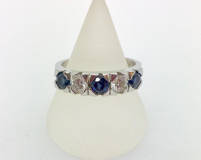 Platinum Sapphire and Diamond Five Stone Ring, Douglas Hughes Design