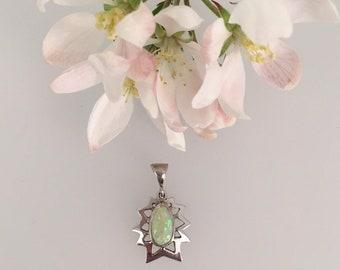 Opal Pendant - 18ct White Gold - Douglas Hughes Star Burst Pendant set with a Pear Shape Solid Opal
