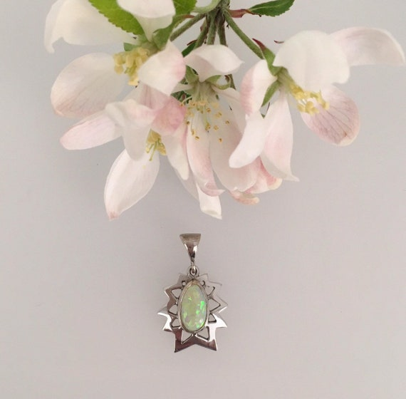 Opal Pendant - 18ct White Gold - Douglas Hughes Star Burst Pendant set with a Pear Shape Solid Opal