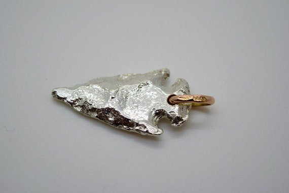 Silver Arrowhead Pendant - Solid Silver & Rose Gold- Handmade by Douglas Hughes