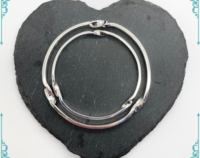 Cornish Triple Twist Solid Silver Bangles - Handmade Douglas Hughes Design