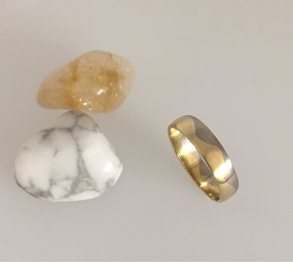 18ct  Yellow & White Two Tone Gold Wave Ring - Handmade in Cornwall by Douglas Hughes
