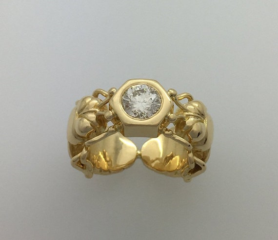 Diamond Set Bee Ring - 18ct. Yellow Gold - Exceptional Handmade Douglas Hughes Design.